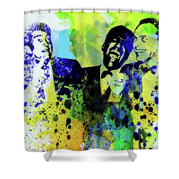 Legendary Rat Pack Watercolor Shower Curtain