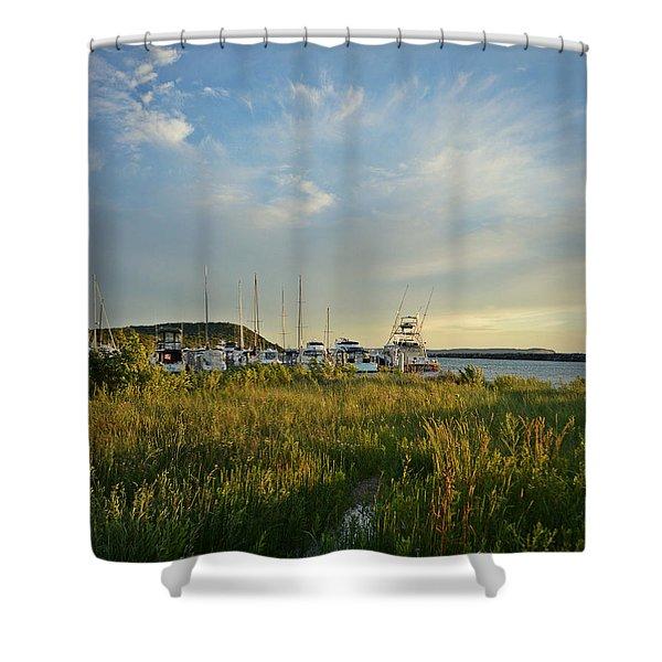 Leland Harbor At Sunset Shower Curtain