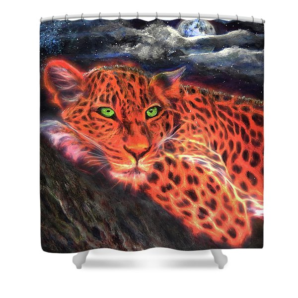 Leopard By Moonlight Shower Curtain