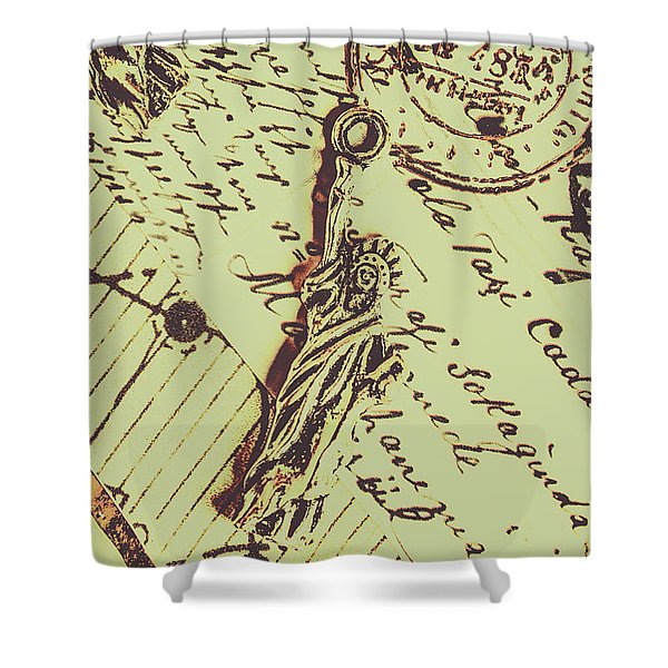 Letters Of Liberty Shower Curtain