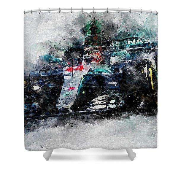 Lewis Hamilton, Mercedes Amg F1 W09 - 10 Shower Curtain