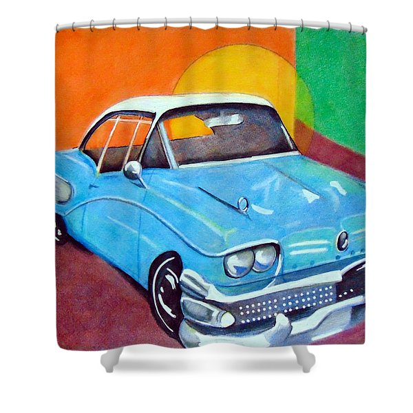 Light Blue 1950s Car  Shower Curtain
