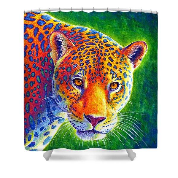 Light In The Rainforest - Jaguar Shower Curtain