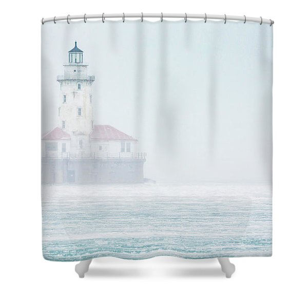 Lighthouse In The Mist Shower Curtain