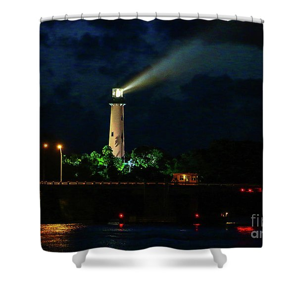 Shower Curtain featuring the photograph Lighthouse Lightbeam by Tom Claud