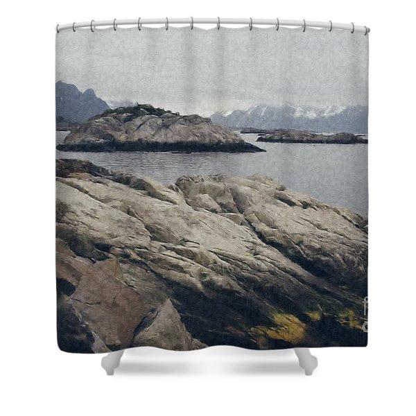 Lighthouse On Rocks Near The Atlantic Coast, Digital Art Oil Pai Shower Curtain