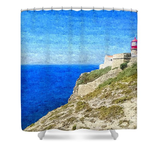 Lighthouse On Top Of A Cliff Overlooking The Blue Ocean On A Sunny Day, Painted In Oil On Canvas. Shower Curtain