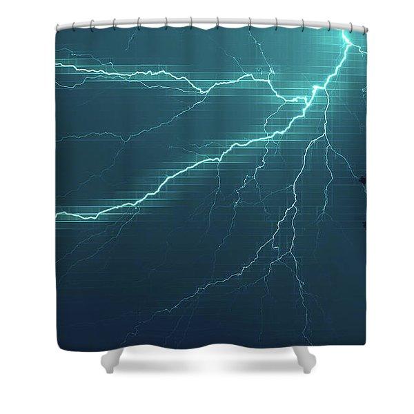 Lightning Grid Shower Curtain