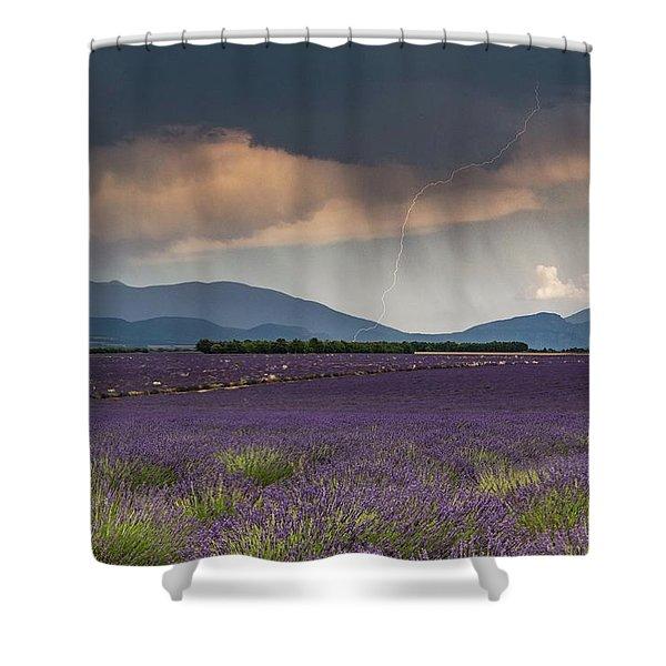 Lightning Over Lavender Field Shower Curtain