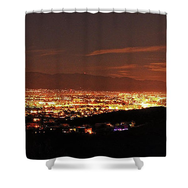 Lights Of Tucson And Moonrise Shower Curtain