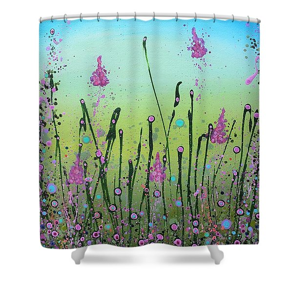 Lilacs And Bluebells Shower Curtain