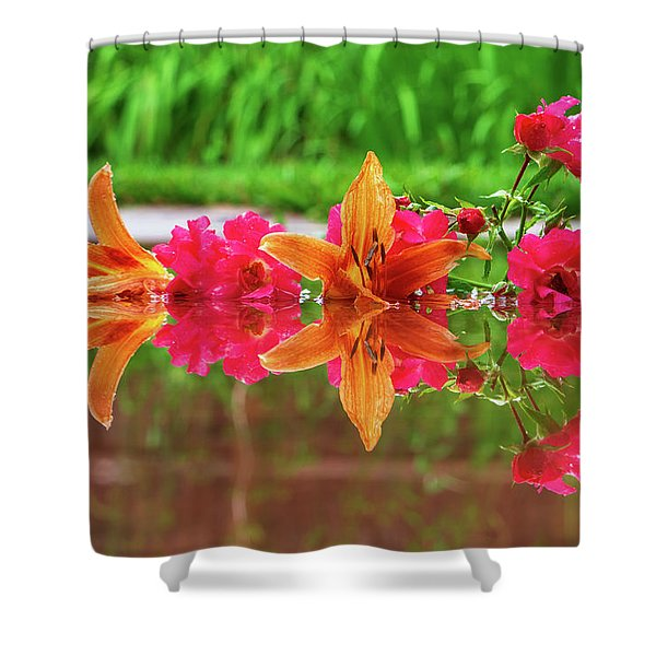 Lilies And Roses Reflection Shower Curtain