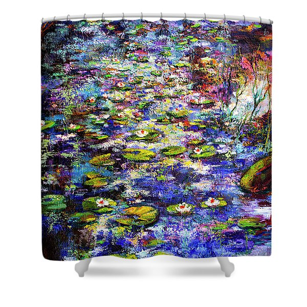 Lily  Pond Impressions Oil Painting Shower Curtain