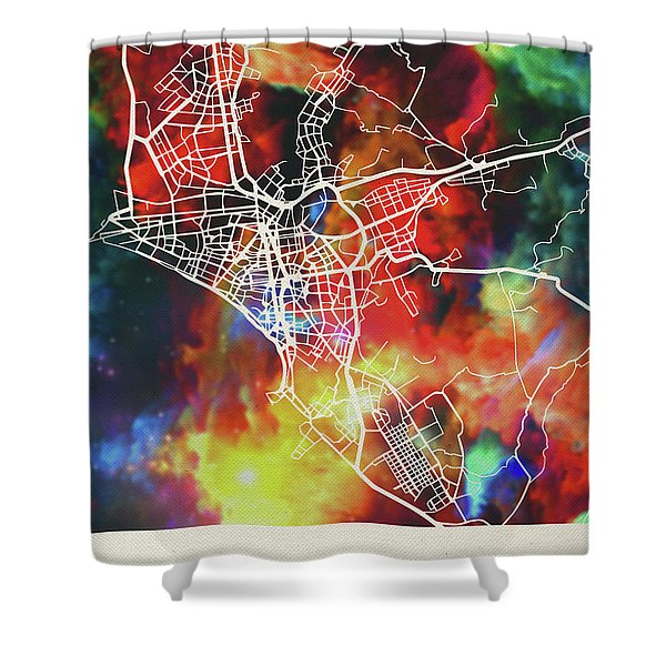 Lima Peru Watercolor City Street Map Shower Curtain