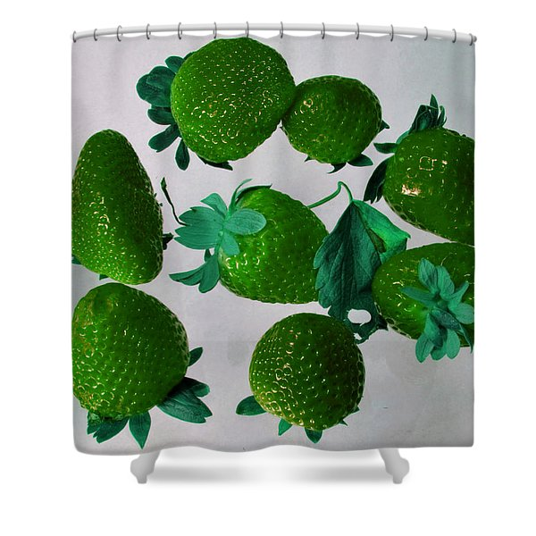 Lime Strawberries Shower Curtain