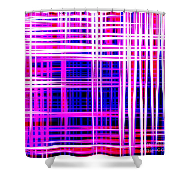 lines and squares in purple Color Waves - PL414 Shower Curtain