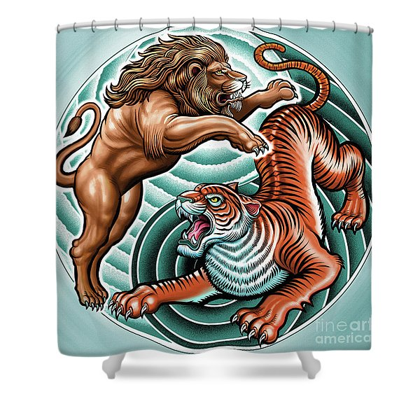 Lion And Tiger  Shower Curtain