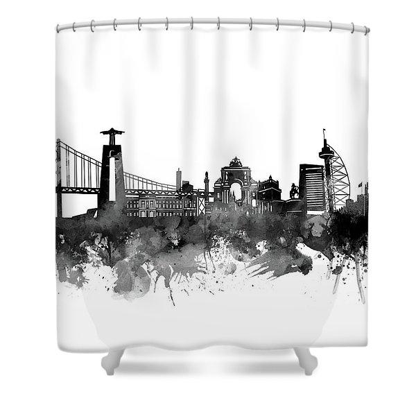Lisbon Skyline Bw Shower Curtain
