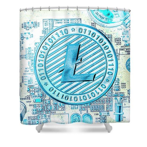 Litecoin Design Shower Curtain
