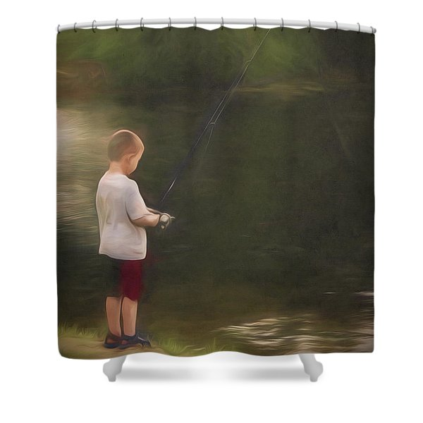 Little Boy Fishing Shower Curtain