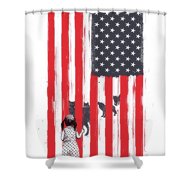 Little Girl And Wolves Shower Curtain