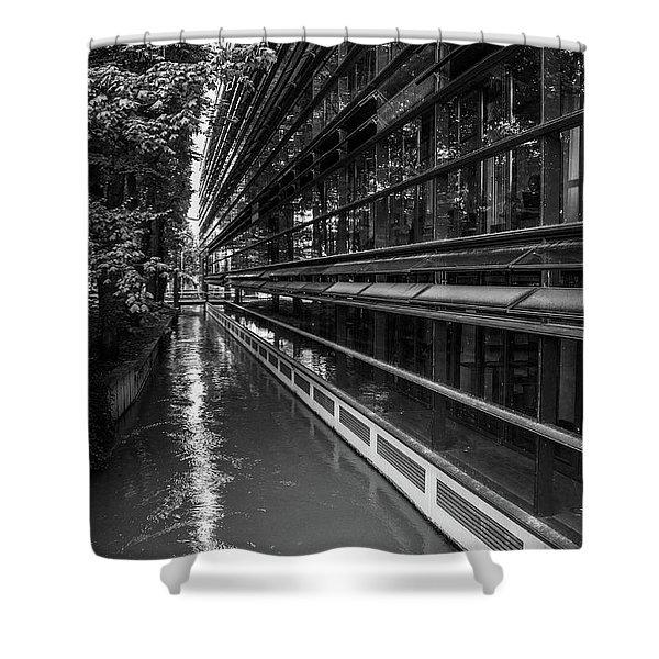 Little River, Big Building Shower Curtain