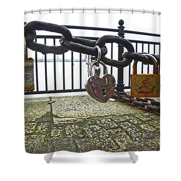 Liverpool. The Albert Dock. Eternal Love. Shower Curtain