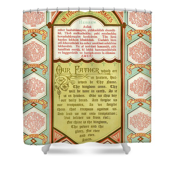 llustrated version of The Lords Prayer in fourteen languages including Hebrew, French, Spanish Shower Curtain
