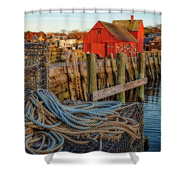Lobster Traps And Line At Motif #1 Shower Curtain