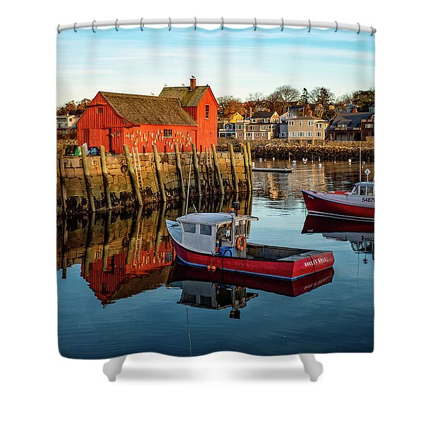 Shower Curtain featuring the photograph Lobster Traps, Lobster Boats, And Motif #1 by Jeff Sinon