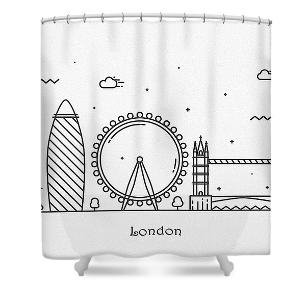 London Cityscape Travel Poster Shower Curtain