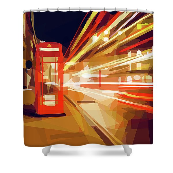Shower Curtain featuring the digital art London Phone Box by ISAW Company