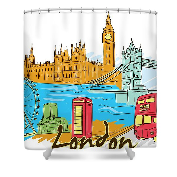Shower Curtain featuring the digital art London The City by Stanley Mathis