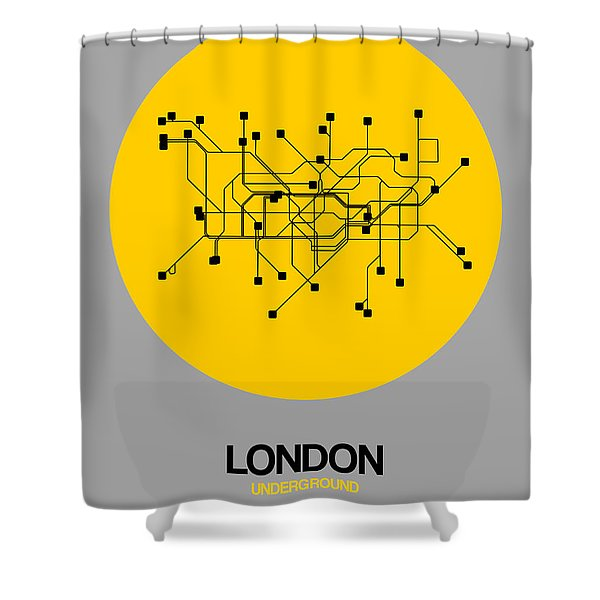 London Yellow Subway Map Shower Curtain