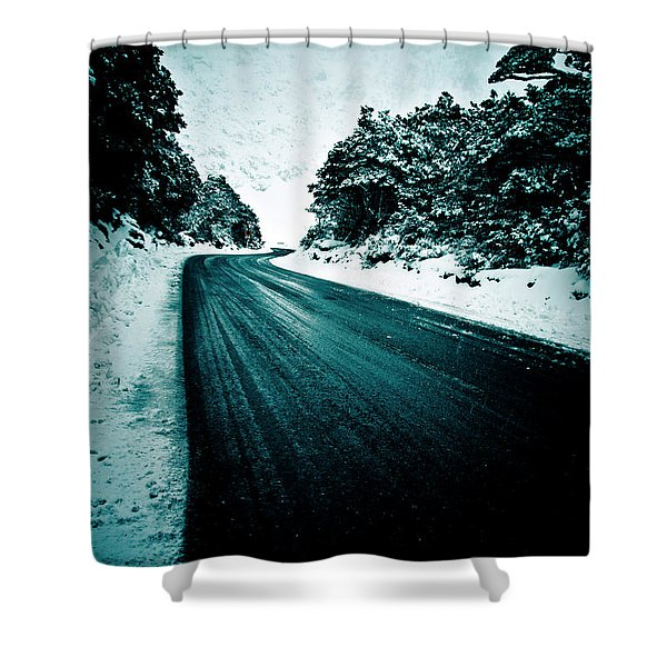 Lonely Road In The Countryside For A Car Trip And Disconnect From Stress Shower Curtain