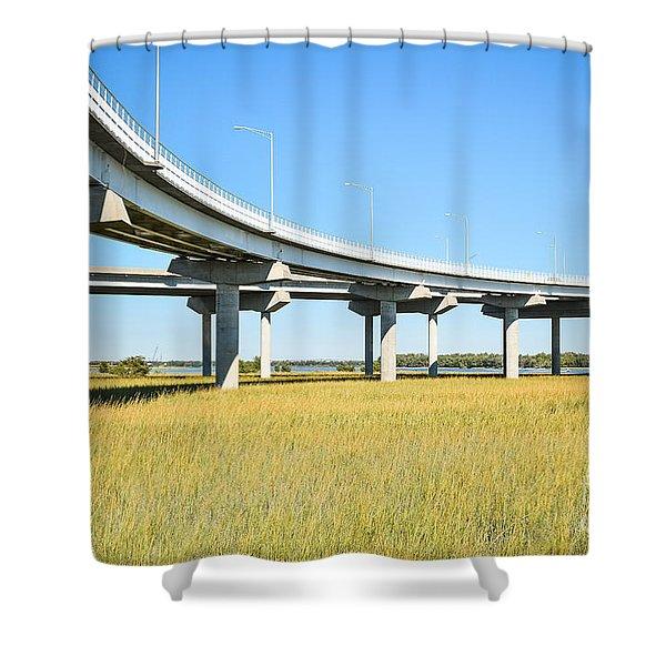 Long Concrete Bridge  Shower Curtain