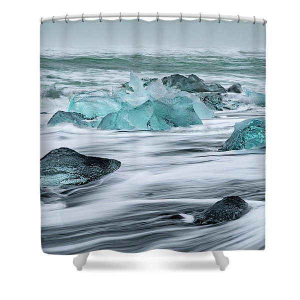 Long Exposure At The Jokulsarlon Ice Beach Shower Curtain
