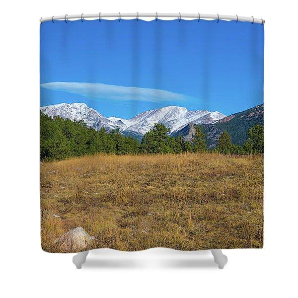 Longs Peak From Upper Beaver Meadows Shower Curtain