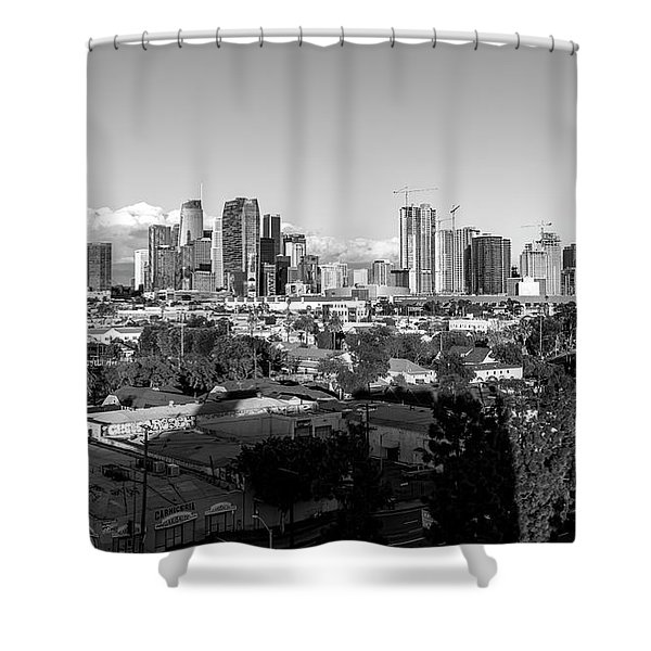 Los Angeles Skyline Looking East 2.9.19 - Black And White Shower Curtain