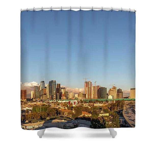 Los Angeles Skyline Looking East Panorama 2.9.19 Shower Curtain