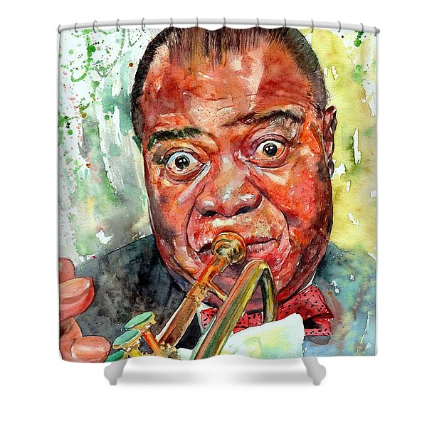 Louis Armstrong Portrait Painting Shower Curtain