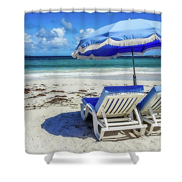 Shower Curtain featuring the photograph Lounging On Orient Beach, St. Martin by Dawn Richards