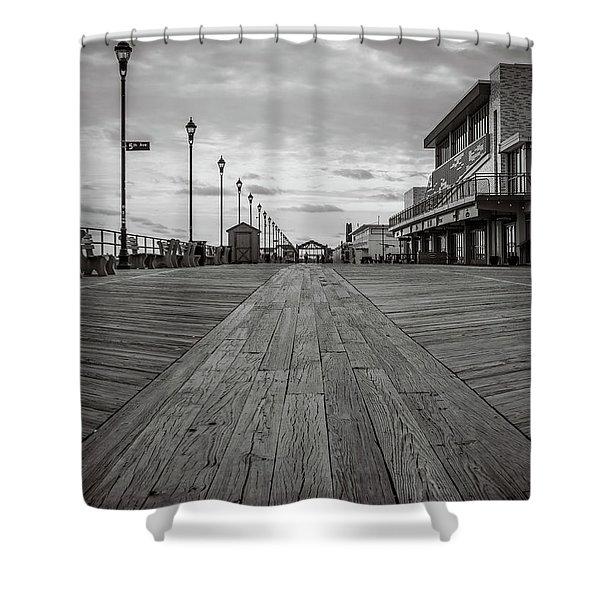 Low On The Boardwalk Shower Curtain