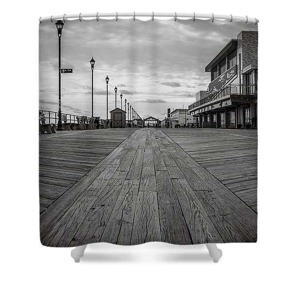 Low On The Boardwalk Shower Curtain