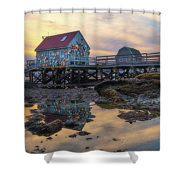 Shower Curtain featuring the photograph Low Tide Reflections, Badgers Island.  by Jeff Sinon