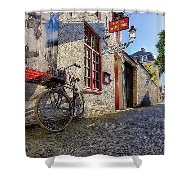 Lux Cobblestone Road Brugge Belgium Shower Curtain