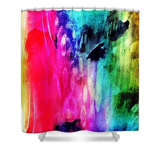 Shower Curtain featuring the mixed media Luxe Splash  by Rachel Maynard