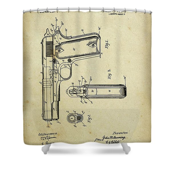 M1911 Browning Pistol Patent Shower Curtain