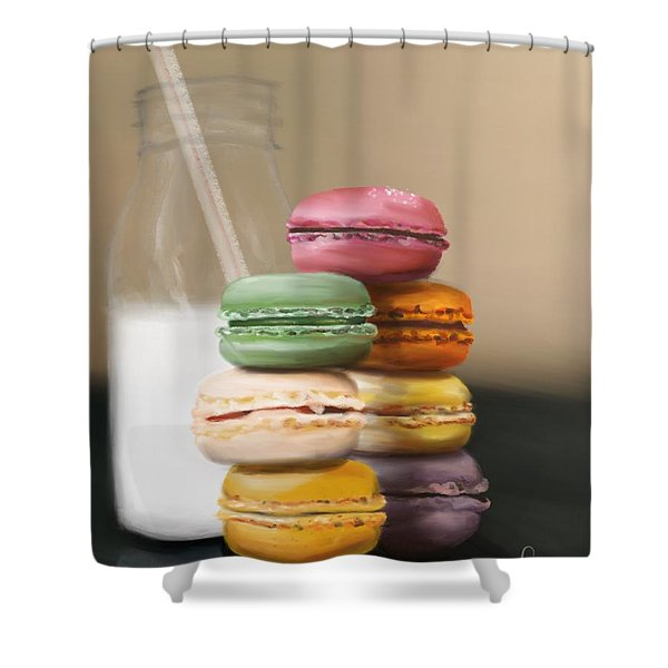 Shower Curtain featuring the pastel Macaroons  by Fe Jones
