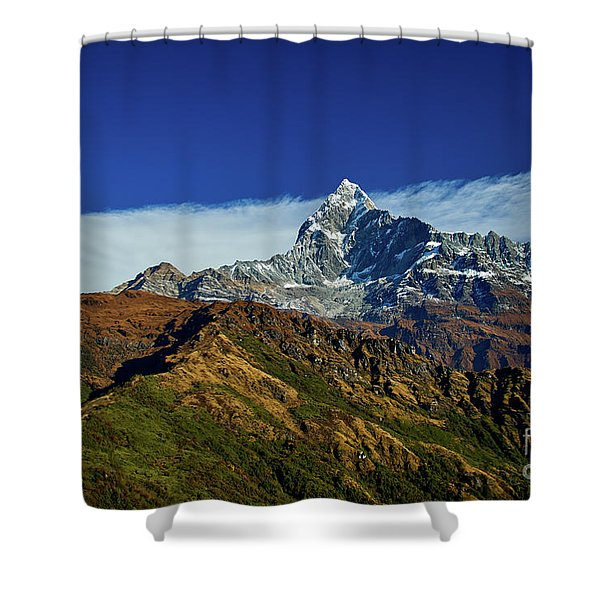 Machapuchare Mountain Fishtail In Himalayas Range Nepal Shower Curtain